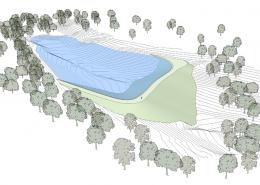 Трехмерная модель. Искусственный пруд без строительных матералов. Грунтовый пруд без бетона и плёнки.